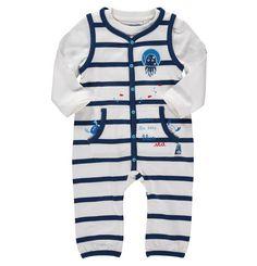 BOB der Bär Strampler & Langarmshirt, Bio-Baumwolle, gestreift, für Babys weiß-dunkelblau