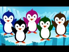 Five Little Penguins Gross Motor Activities, Winter Activities, Preschool Activities, Preschool Winter, Kindergarten Learning, Animal Activities, Teaching Reading, Kids Learning, Penguin Songs