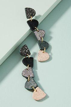 Nora Lozza Linear Leather Drop Earrings