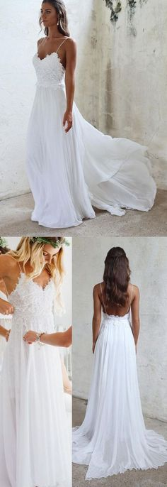 0a263e08cd Charming A Line Sweetheart Spaghetti Straps Backless Chiffon White Wedding  Dresses with Lace