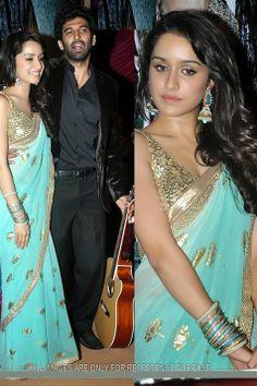 Trendy & Vibrant Sharaddha Kapoor Aashiqui-2 Promo Shaded Green Bollywood Replica Saree.