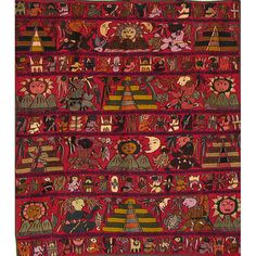 Cotton Burgundy Embroidered Mayan Tapestry (Guatemala) |