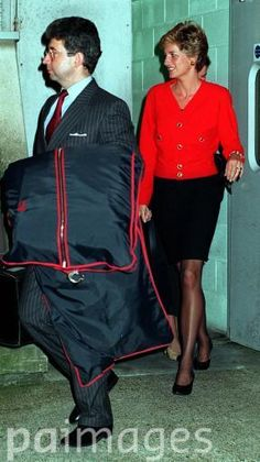 October 24, 1994: Princess of Wales and her Private Secretary (left), Patrick Jephson, arrive at Heathrow Airport, London, after a weekend trip to Washington DC, USA.
