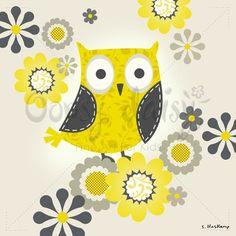 Cute owl canvas for a nursery