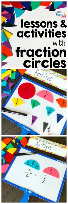 Fraction circles are the perfect manipulates for students to explore fractions.  Use them for hands-on learning to introduce equivalent fractions, comparing fractions, mixed numbers, and even adding, subtracting, multiplying and dividing fractions.  Use them with task cards for independent student practice, or as part of your small group instruction.  Fraction circles help students recognize that fractions fit together to form a whole circle.  Use dry erase markers on the circles so students can Comparing Fractions, Dividing Fractions, Equivalent Fractions, Math Rotations, Math Centers, Math Games, Math Activities, Independent Student, 5th Grade Math