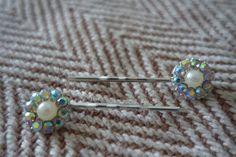 AB Rainbow Crystal Hair slides. Faux pearl & Crystal Hair Slides. Handmade. Gift for her. Bridal hair slides. Crystal hair accessories by HazelsWeddingShop on Etsy