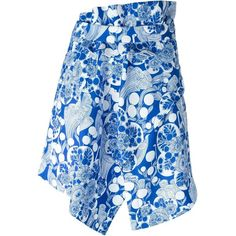 Carven Panel Detail Floral Print Asymmetric Skirt (£225) ❤ liked on Polyvore featuring skirts, blue, floral print skirt, panel skirt, floral skirt, floral knee length skirt and blue floral skirt