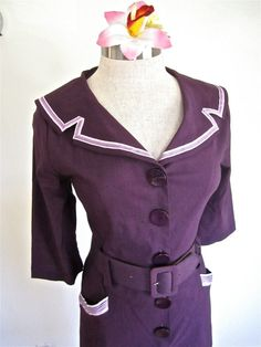 SOLD: L 90s 50s Bettie Page Dress Purple Mad Men by LikewiseVintage