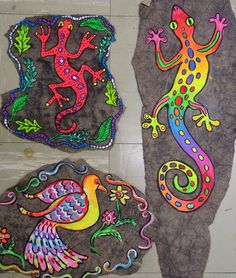 There's a Dragon in my Art Room: Faux Mexican 'bark' paintings!..It would be fun to paint colorful designs like these on rocks!!