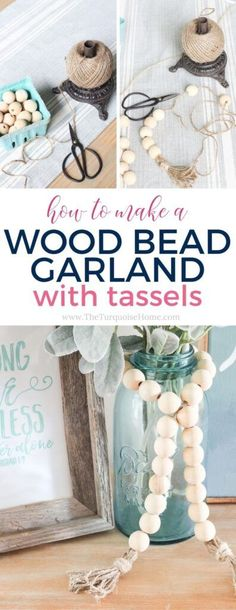 Super cute DIY Wood Bead Garland with Tassels is so easy and fun to make! Cheap, too!! #diy #diyhomedecor #budgetdiyhomedecor Diy Crafts For Adults, Diy Home Crafts, Easy Diy Crafts, Diy Arts And Crafts, Bead Crafts, Decor Crafts, Diy For Kids, Nature Crafts, Fun Crafts