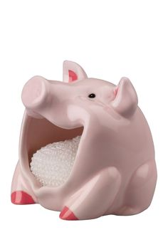 This hand painted earthenware sponge holder is designed to look like a pig. The scrubby holder measures l x w x h. Includes non-abrasive scrubby. Pig Kitchen Decor, Kitchen Ideas, Kitchen Stuff, Country Kitchen, Kitchen Sink, Kitchen Design, Sponge Holder, Flying Pig, This Little Piggy