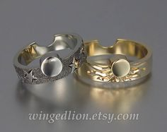 SUN and MOON 14k gold engagement and wedding rings