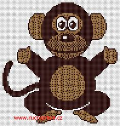 Monkey, free cross stitch patterns and charts - www.free-cross-stitch.rucniprace.cz