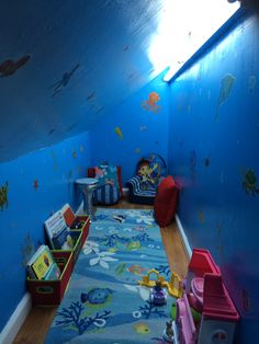 Turned the crawl space in my daughter's room into an underwater sea cave. She loves it! Under Stairs Playroom, Sunroom Playroom, Kids Cubby Houses, Kids Cubbies, Ocean Bedroom Kids, Kids Hideout, Kid Closet, Toddler Rooms, Secret Rooms