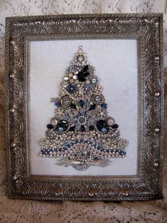 Vintage Jewelry Framed Christmas Tree Handcrafted Silent Night | eBay