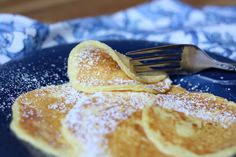 Delicate Cream Cheese Pancakes recipe by Barefeet In The Kitchen ... 1 egg:1oz cream cheese +vanilla/cinnamon  (optional)