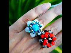 YouTube Beading Tutorials, Beading Patterns, Beaded Rings, Beaded Jewelry, Handmade Crafts, Diy And Crafts, Rings 2017, Diy Fashion, Turquoise