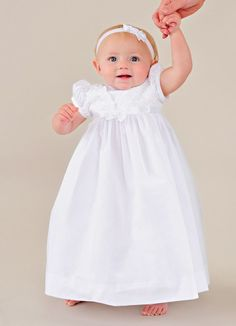 Our new Faye Irish Christening Dress with a beautiful and delicate Shamrock embroidery.