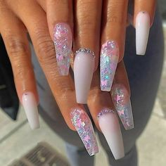Milky white with butterflies glitter and crystals on long coffin nails . - Milky white with glitter butterflies and crystals on long coffin nails. Acrylic Nails Coffin Short, Summer Acrylic Nails, Best Acrylic Nails, Summer Nails, White Acrylic Nails With Glitter, White Coffin Nails, Black Nail, Coffin Nails Glitter, Pink Coffin