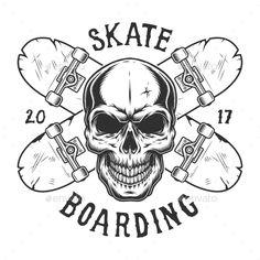 Buy Vintage Skateboarding Logo by imogi on GraphicRiver. Vintage skateboarding logo with skull and crossed skateboards isolated vector illustration Skateboard Tattoo, Skateboard Art, Skate Tattoo, Jeans Drawing, Design Kaos, Skate Art, Desenho Tattoo, Tattoo Outline, Cool Art Drawings