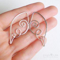Angel Wing Earrings Argentium Silver Artisan Handmade Jewelry - 18 ga | popnicute - Jewelry on ArtFire