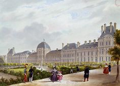 The Tuileries during the Restoration (coloured engraving) by French School