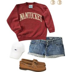 Baseball hat, crewneck sweater, denim shorts and sperry's