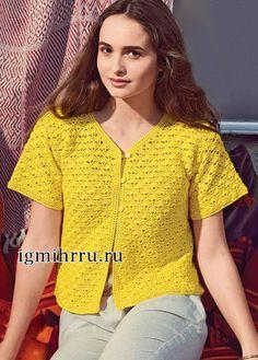 Желтая летняя кофточка с короткими рукавами. Вязание крючком