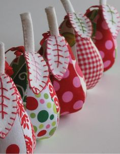 Patterned Pear Pincushions