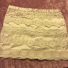 Forever 21 mini skirt. Cute Mini Skirt with crochet lacing. Forever 21 Skirts Mini