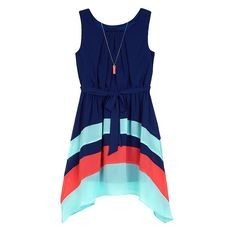 fff20bf53c1 Girls 7-16 IZ Amy Byer Colorblock Sharkbite Dress with Necklace