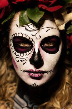 DIA De Los Muertos Face | Close up of Ashia in dia de los muertos face paint
