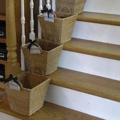 Stair BasketsEveryone's Stuff Put each family member's name on a basket, and keep the baskets on or close to the stairs. As you gather up all that stuff that your family leaves around, place it in the appropriate basket to be carried up and put away—a very pretty way to help control the clutter.