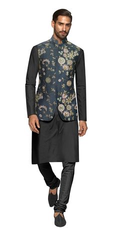 Our Zermatt Nehru Vest is a printed, floral, raw silk vest that is elegant, sophisticated and chic. Pair it with a black cotton kurta and spun silk churidaar for a classy night out. Nehru Jacket For Men, Nehru Jackets, Kurta Pajama Men, Kurta Men, Summer Wedding Outfits, Wedding Dress Men, Wedding Wear, Indian Men Fashion, Womens Fashion