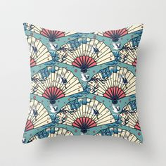 Oriental FanTasy Throw Pillow by Paula Belle Flores - $20.00