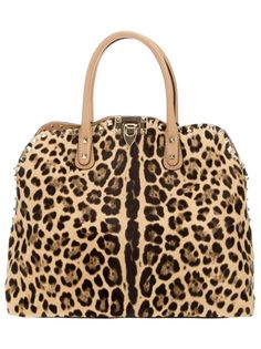 Brown pony hair tote from Valentino featuring a leopard print, two calf leather short top handles, silver-tone pyramid studs at the trims and the detachable long shoulder strap and an internal zipped pocket. Motif Leopard, Cheetah Print, Leopard Tote, Leopard Prints, Animal Fashion, Fashion Bags, My Bags, Purses And Bags, Tote Bags