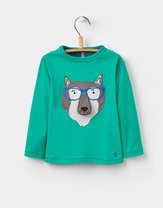 Joshua loves looking at people wearing glasses that remind of his daddy. I think this wolf would remind him of daddy too! Haha!   Chomp Green Grass Wolf Applique Top 1-6yr | Joules UK