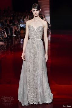 elie saab couture fall 2013 2014 strapless sweetheart gown