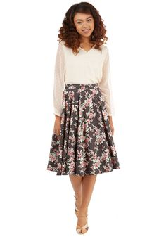 Bloom of Your Own Skirt. Now that youve got your own writing room, get inspired by the feminine style of this floral midi skirt. #brown #modcloth