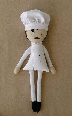 Fabric Doll Cloth Doll Chef Doll with Chef Hat by rovingovine Softies, Fabric Toys, Sewing Dolls, Waldorf Dolls, Soft Dolls, Diy Doll, Cute Dolls, Doll Patterns, Doll Toys