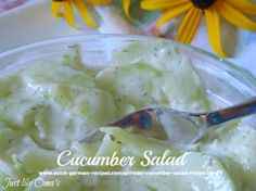 This traditional German Cucumber Salad http://www.quick-german-recipes.com/german-cucumber-salad-recipe.html is so easy to make, and SO delicious!