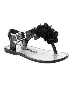 Black Floral-Accent Sandal