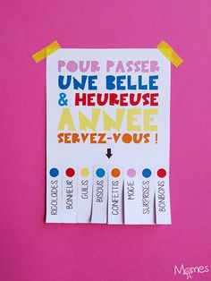 """Carte de voeux """"servez-vous"""" à imprimer New Year Diy, Happy New Year, Christmas Diy, Christmas Cards, Xmas, New Eve, Diy And Crafts, Paper Crafts, Christmas Activities For Kids"""