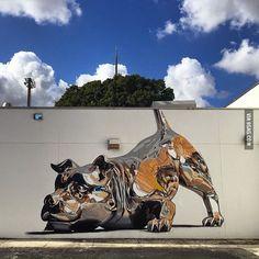 Chrome dog street art.