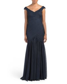 Off+The+Shoulder+Evening+Gown