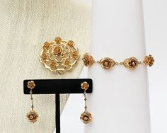Gold Rose Jewelry Set  Vintage 1960s by TheBirdcageVintage on Etsy