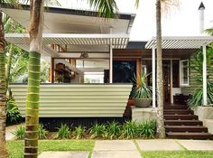 Just replace the roof with this simple slatted situation. Keep the back porch posts and paint white