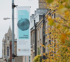 Lamppost banner | Dear World…Yours, Cambridge brand identity ©johnsonbanks www.johnsonbank.co.uk