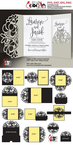 12 Floral Lace Envelopes, Cards, Belly Band, Decorative Monogram Base, Cash Envelope - vector digital files to use for your crafting projects - greeting cards, wedding invitations, RSVP cards, etc. Please follow this link http://etsy.me/2wd7NDf to see these items in smaller sets. WHAT YOU