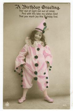 c 1912 Vintage child Children CUTE CLOWN GIRL tinted antique photo postcard